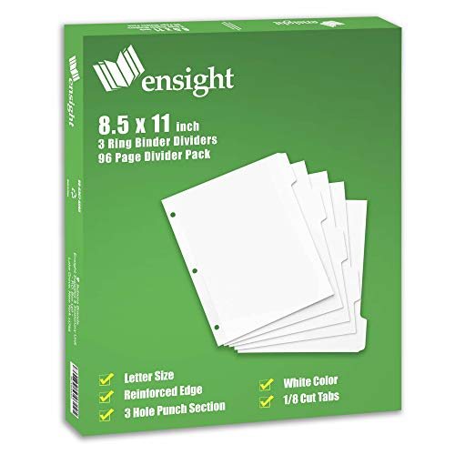 Ensight 3 Ring Binder Dividers 1/8 Cut Tab Dividers, 96 Per Box, Paper Notebook Dividers, Decorative Printable Rewritable Tabs, Binder Separators with Tabs, Exhibit Tabs, Customizable Plain White Tabs