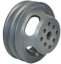 NEW SOUTHWEST SPEED ALUMINUM 2-GROOVE V-BELT WATER PUMP PULLEY FOR SMALL BLOCK CHEVY AND SMALL BLOCK FORD, 5 9/16