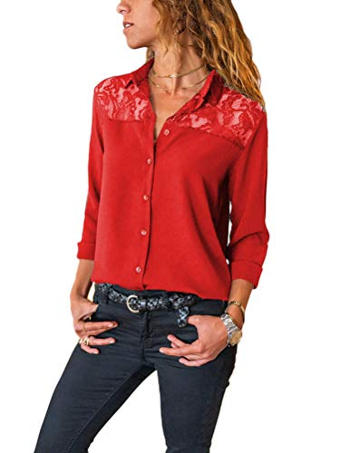 ORANDESIGNE Donna Camicia Manica Lunga Camicetta Scollo V Elegante Pizzo Colore Puro Camicia Blusa Rosso S