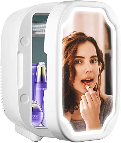 Mini nevera, nevera personal con espejo portátil de 8 litros, mini refrigerador cosmético con luz regulable LED, cuidado de la piel y almacenamiento de maquillaje, pequeño para escritorio o viaje, fre