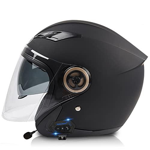 ZHEN 3/4 Adultos Bluetooth Retro Casco De Moto Casco Jet Abierto Media Cara con Visera para Hombre Y Mujer Casco De Motocicleta Medio para Cruiser, Chopper Vintage Style ECE Homologado