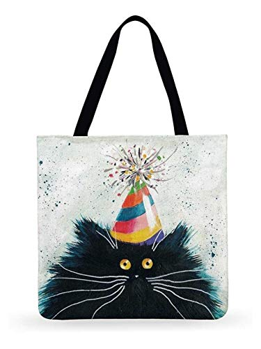 OYPY Fresh Cartoon Cat Printed Tote Bag For Women Linen Faric Bag Ladies Shoulder Bag Outdoor Casual Tote Foldable Shopping Bag (Color : 15, Size : 44x42cm)