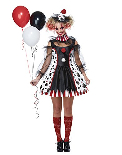 California Costumes Women's Twisted Clown Costume, black/white/red, Large