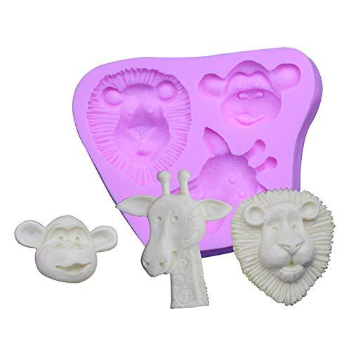 Gespout Muffa 7 Griglia Leone Scimmia Giraffa Silicone Torta Stampo DIY Candela Muffa per Caramelle Gelatina Clay Soap Craft Making Dessert(Rosa)