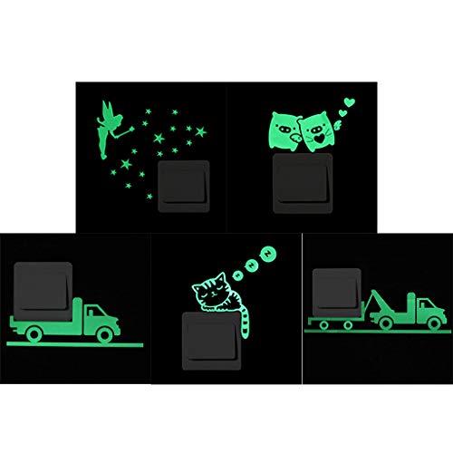 PTMD Pegatinas de estrellas, 5 piezas luminosas que brillan en la oscuridad para decoración de dormitorio