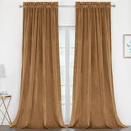 Benedeco Blackout Camel Velvet Curtains for Bedroom Window, Light Filtering Drapes for Living Room Darkening Soundproof Thermal Curtain Rod Pocket 52 x 108 inches Long Length Set of 2 Panels