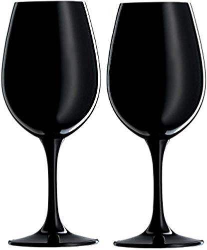 Prime Presents 2er Set Luxus Weingläser schwarz Kristallglas 540ml XL XXL-Kelche mo-dern Silber Black-et