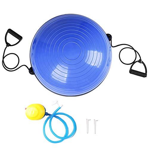 Sfeomi Pelota de Equilibrio 58CM Bola de Yoga con Capacidad de 150kg Balón de Pilates con Bandas de Resistencia y Bomba Manual para Fitness Ejercicio Yoga (Azul)
