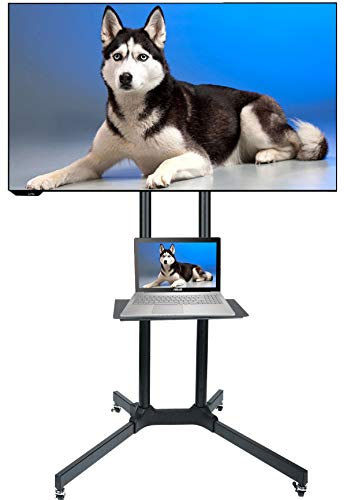 """Husky Mount Mobile TV Stand with Wheels Heavy Duty Universal Rolling TV Cart Fits Most 32"""" – 70"""" LED LCD TVs with Shelf and Mount Max Load 132 LBS Load Capacity TV Trolley"""