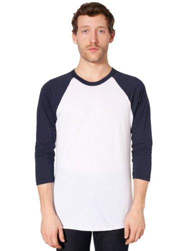 T-shirt Raglan Manches 3/4 en Poly-Coton - White / Navy / M