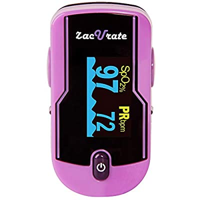 Zacurate 500E Premium Fingertip Pulse Oximeter Oximetry Blood Oxygen Saturation Monitor with Silicon Cover, Batteries and Lanyard (Mystic Purple)