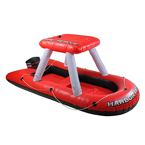 Inflatable Red and White Fire Boat Ride-On Water Squirter Swimming Pool Toy, 60-Inch