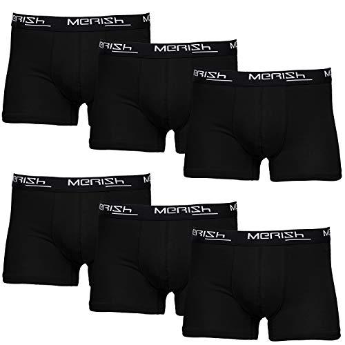 MERISH Boxershorts Men Herren 6er Pack Unterwäsche Unterhosen Männer 406a Schwarz L