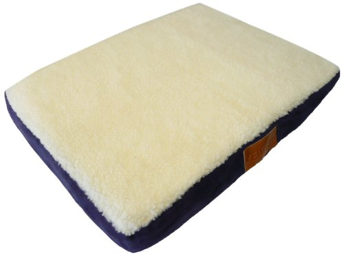 Ellie-Bo 71 x 48 x 6 cms Medium Orthopaedic Memory Foam Dog Bed with Faux Suede and Sheepskin Topping Cover in Blue and White for 30 inch Dog Cage / Crate
