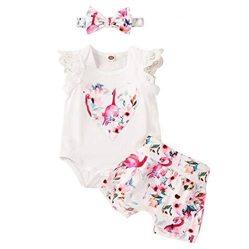BemeyourBBs Conjunto de 3 piezas de ropa para recién nacidos de manga corta para bebés y niñas