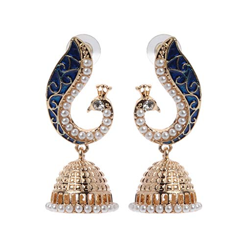 YU-HELLO _Retro Indian Bollywood Kundan Peacock Jhumka Jhumki Gitana Pendientes