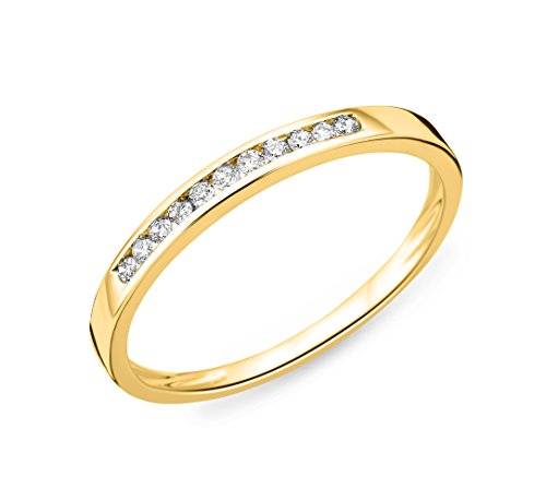 Miore–Anillo de mujer 9KT Memoire 375oro amarillo diamante (0.1ct) Blanco redondo filo–mc909y60