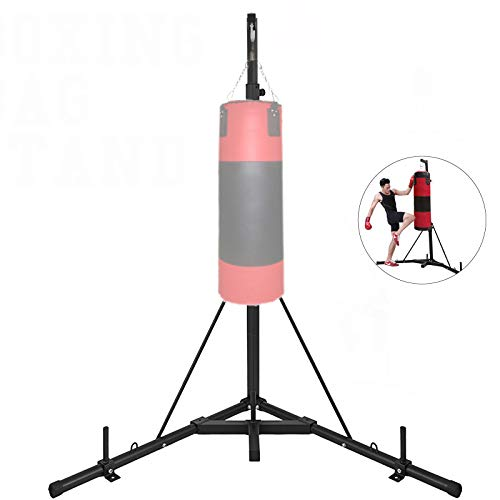 Happybuy Folding Boxing Heavy Bag Stand Height Adjustable Sandbag Rack Portable 330LB Heavy Duty Punch Bag Stand Free Standing in The Corner Punching Suspension Bracket for Home (Black+)
