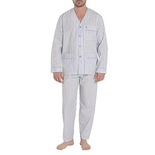 El Búho Nocturno - Pijama Hombre Largo Judo Popelín Rayas Celeste 60% algodón 40% poliéster Talla 4 (L)