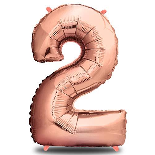 envami Folienballon Zahl I Geburtstagsdeko Rosegold I 100cm I Deko zum Geburtstag I Luftballon Zahlen Dekoration I Happy Birthday I Fliegt mit Helium (Zahl 2)