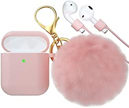 BRG for AirPods Case,Soft Cute Silicone Cover for Apple Airpods 2 & 1 Cases with Pom Pom Fur Ball Keychain/Strap/Earbuds Accessories (Front LED Visible)
