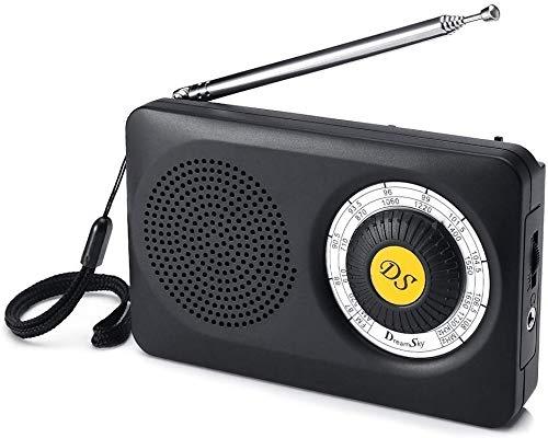 Dreamsky Digitales Radio Klein AM/FM mit Klar Empfang und Super Klang, Lautsprecher, Kopfhörerbuchse, Tragbares Radio für Wandern Camping Notfälle, Einfache Bedienung, Batteriebetrieben (Schwarz)