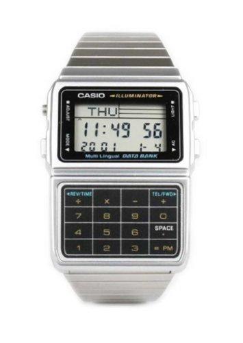 Casio DBC611-1 Mens Stainless Steel Databank Calculator Watch 5 Alarms Stopwatch
