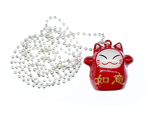Miniblings Glückskatze Winkekatze Maneki-Neko Kette Halskette 80cm Manga 30mm - Handmade Modeschmuck - Kugelkette versilbert