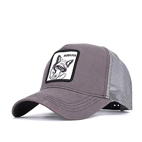 ZLJII Bordado Animal Gorras De Béisbol De Los Hombres BéisbolGeneral De Las MujeresGorrosVisera Hueso,Gray-Silver Fox