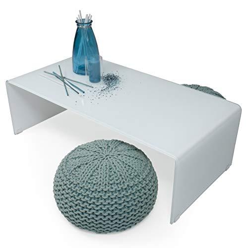 mesa de centro blanca de cristal curvado y templado