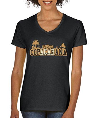 Comedy Shirts - Copacabana Palmen - Damen V-Neck T-Shirt - Schwarz/Hellbraun-Beige Gr. L