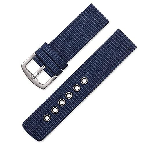 SCDZS Correa de Lona Militar de Camuflaje, Bandas de Reloj, Mujeres, Hombres, Negro, Verde, Deporte, Relojes, Accesorios (Color : Blue, Size : 24mm)