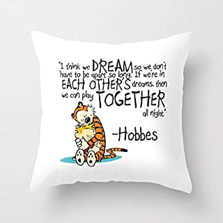 Zippered Pillow Covers Pillowcases 18X18 Inch Calvin and Hobbes Dreams Decorative Throw Pillow Cover,Pillow Cases Cushion Cover for Home Sofa Bedding