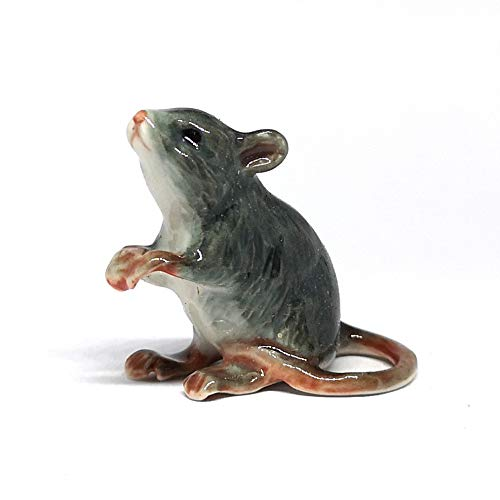 ZOOCRAFT Ceramic Mouse Rat Figurine Gray Animal Hand Painted Porcelain Collectible Decor