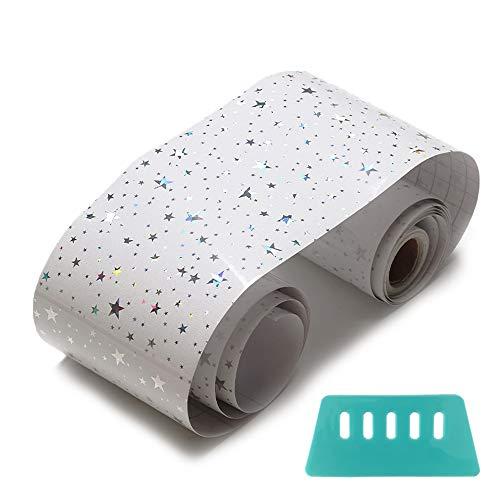 sinzau Selbstklebende Folie mit Schaber, Möbelfolie Tapeten für Küche und Fußleiste, Gypsophila