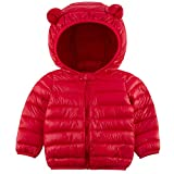 Winter Coats for Kids with Hoods Orange Red Solid Color Light Puffer Jacket for Baby Boys Girls Infants Toddlers Down Alternative Clothing 18-24 Months