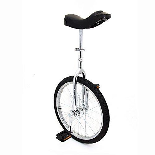 Indy Trainer - Monociclo para niños Chapado en Cromo, Marco de Acero de 20 Pulgadas, 1 Velocidad Redondeado Pedales de plástico Contorneado sillín ergonómico