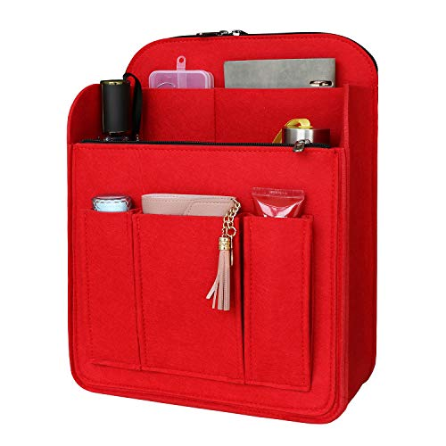 SHINGONE 8 Pockets Backpack Organiser Insert, Felt Bag Organiser for Women with Zip, Lightweight Travel Organiser Bag Insert, Red-S
