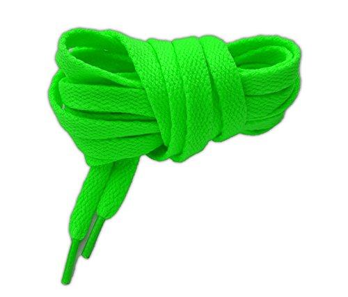 NEON Lacci per calzature sportive, piatti, elevata qualità, 125 cm (verde fluorescente)