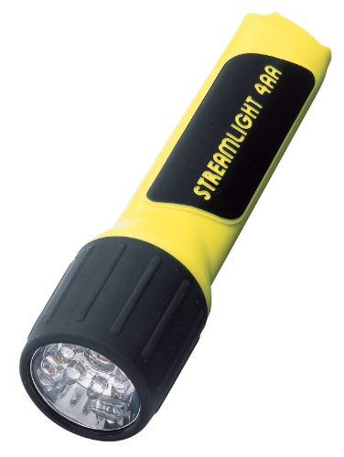 4AA Cell LED Light, White LEDs, Yellow Body, Clam Pack