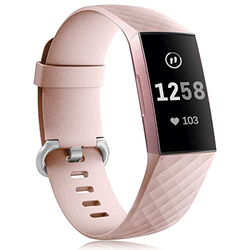 GEAK Correa compatible para Fitbit Charge 3/Fitbit Charge 4, pulsera de repuesto clásica ajustable para Fitbit Charge 3/Fitbit Charge 4 Actividad Tracker Mujeres Hombres, Grande SandPink