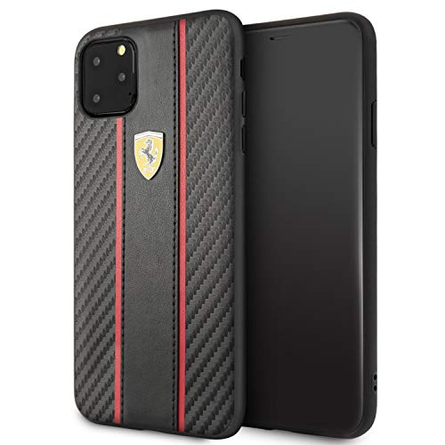 Ferrari Phone Case for iPhone 11 Pro Max PU Leather Hard Case with Carbon Fiber Inspired Design Black | Easy Snap-On | Drop Protection | Officially Licensed