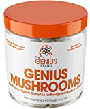 Genius Mushroom  Lions Mane, Cordyceps and Reishi  Immune System Booster & Nootropic Brain Supplement  Wellness Formula for Natural Energy, Stress Relief, Memory & Liver Support, 90 Veggie Pills