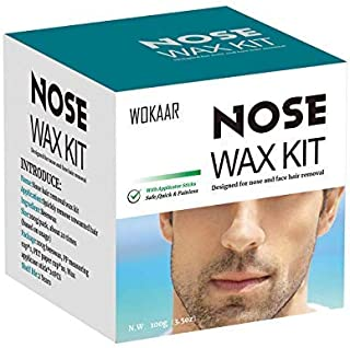 Nose Wax Kit for Men and Women,Nose Hair Removal Wax (100g/10-20 usuage count),20 Applicators,10 Mustache Guards,Safe,Easy,Quick and Painless