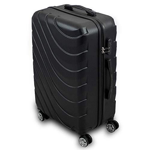 Trolley Hartschalen Koffer Hartschalenkoffer Hardcase Größe L - Modell Wave 2018 (Schwarz)