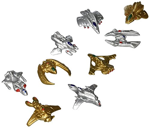 Dozen Miniature 1'-1.5' Gold and Silver Toy Plastic Space Ships