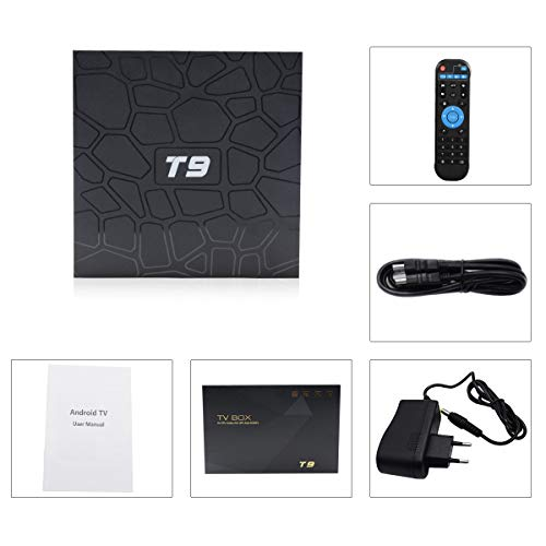 T9 Android TV Box Android 9.0 4GB RAM 32GB ROM RK3318 Quad Core Support 2.4G 5GHz WiFi Bluetooth 4.0 4K 3D HDMI DLNA Smart TV Box