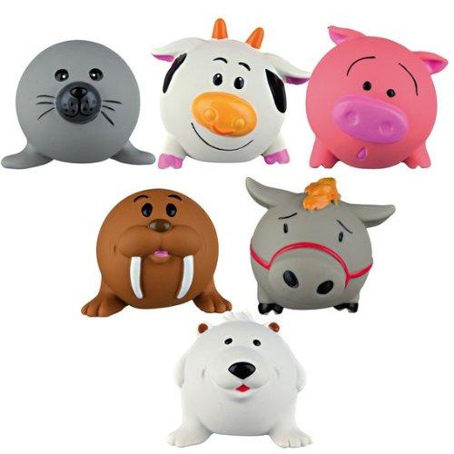 Trixie Paquete de 3 látex divertido granja yarda perro Squeeky surtido animal juguete