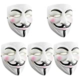 SN-RIGGOR 5 Packs V for Vendetta Anonymous Resin Fancy Cool Costume Cosplay Mask Hacker Mask for Costume Kids White Anonymous Face Masks for Halloween Party/DIY Toy Head Mask