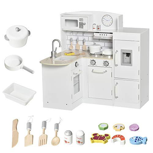 Qaba White Kids Kitchen Play Cooking Toy Set for Children with Drinking Fountain, Microwave, and Fridge with Accessories